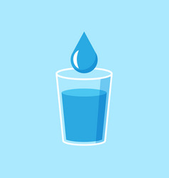 water glass icon in flat style soda glass on vector image