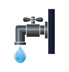 Water tap or faucet with droplet vector image