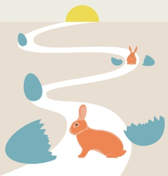 Way of rabbits hatched from the egg to the sun vector image