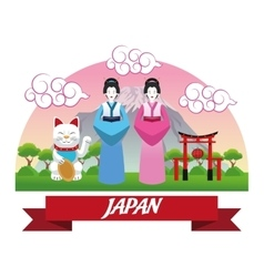 Woman japan culture design vector