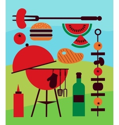 backyard barbecue scene vector image vector image