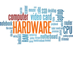 Computer Hardware Word Cloud Bubble Tag Tree vector image vector image