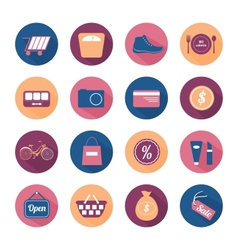 Flat round icon set with long shadow vector image