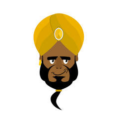 Indian face in turban happy emoji head man of vector