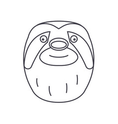sloth head line icon sign on vector image