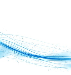 Swoosh blue wave lines over white background vector image