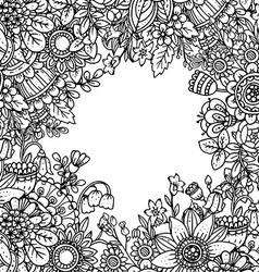 template with beautiful monochrome floral pattern vector image vector image