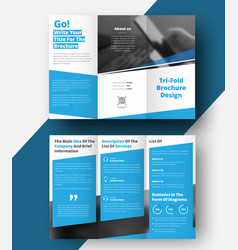tri-fold brochure with diagonal lines and a place vector image