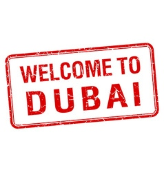 welcome to Dubai red grunge square stamp vector image