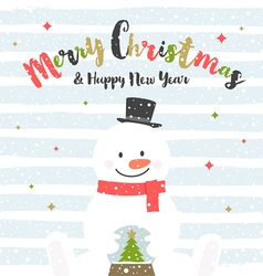 Christmas design with snowman vector image vector image