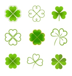 Set of clovers with four and three leaves vector image