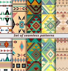 set of seamless patterns in ethnic style vector image vector image