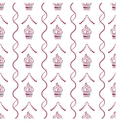 cake outline with interwoven lines and dots vector image