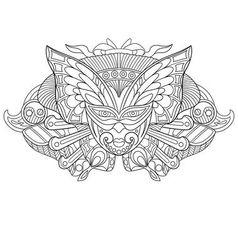 Zentangle stylized cartoon carnaval mask vector image