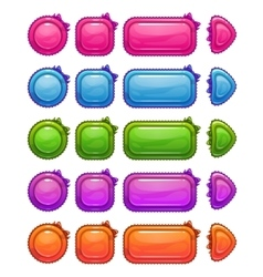 Cute colorful glossy girlie buttons vector