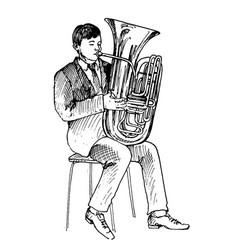 Man playing tube vector