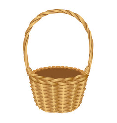 single handle wicker basket isolated vector image vector image