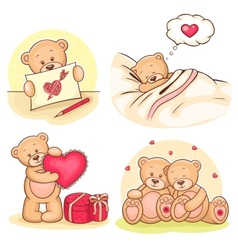 valentine teddy bears collection vector image vector image
