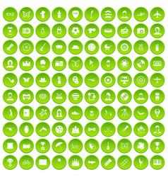 100 photo icons set green circle vector