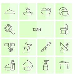 14 dish icons vector image