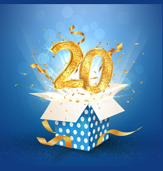 20 th years anniversary and open gift box vector