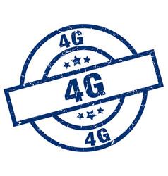 4g blue round grunge stamp vector