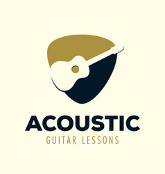 Acoustic guitar lessons logo vector