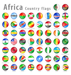 African national flag button set vector