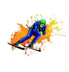 alpine skier athlete skiing downhill black vector image