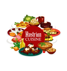 Austrian cuisine frame food drinks dessert menu vector