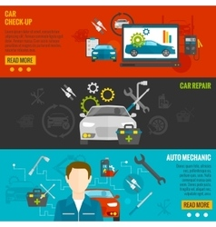 Auto Mechanic Banner Set vector image