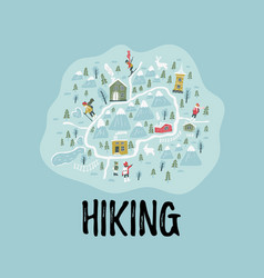 banner hiking obstacles resort places for travel vector image