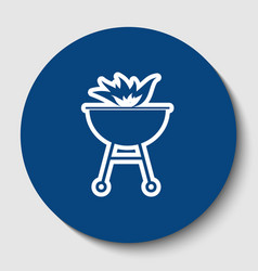 Barbecue with fire sign white contour vector