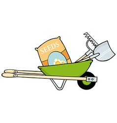 Barrow With Seeds A Rake And Shovel vector image