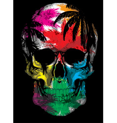 Beautiful hand drawn sketch the skull on the vector