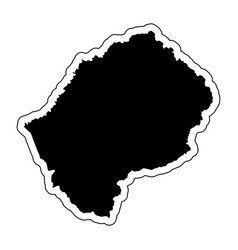 black silhouette of the country lesotho vector image