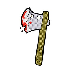 bloody comic cartoon axe vector image