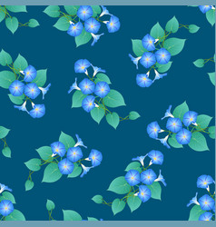 Blue morning glory on green teal background vector