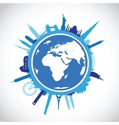 Blue round cityscape vector