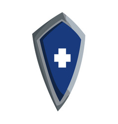 Blue shield warrior protection medieval vector