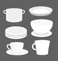 Bowl dish plate cup tumbler glass cartoon vector