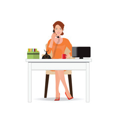 Business woman talking on the phone in office vector
