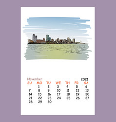Calendar sheet layout november month 2021 year vector