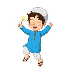 Cartoon happy muslim boy playing firework vector