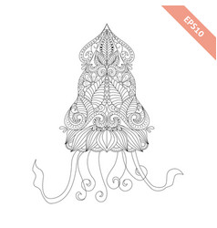 cartoon squid with ornament vector image