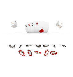 casino red and black chips and cards isolated on vector image