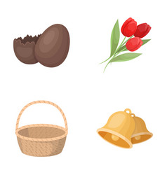 chocolate egg bells basket and flowerseaster vector image