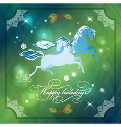 Christmas Horses on Abstract Night Background vector