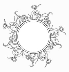 circle frame with black and white sketches octopus vector image