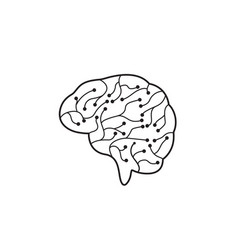 circuit brain icon vector image